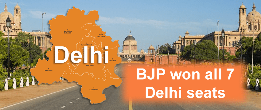 BJP won all 7 Delhi seats, Aam Aadmi Party reached 3rd place
