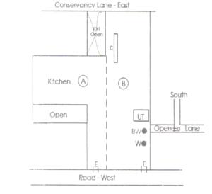 उत्तर दिशा और पूर्व दिशा की तरफ रूकावट या बाधा है तथा पश्चिम दिशा का बायां भाग खुला हुआ है